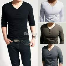 Hot Mens Slim Fit Cotton Lycra V-Neck Long Sleeve Casual T-Shirt Tops Muscle Tee
