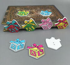 Christmas Gift Box Bowknot Wooden Sewing Buttons Scrapbooking 2 holes 34mm