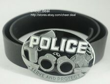 Protect Handcuffs And Special Cowboy POLICE Serve Metal Buckle Real Leather Belt