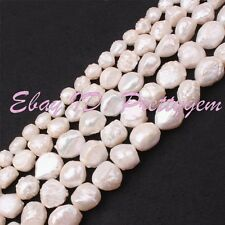 White Natural Lumpy Baroque Freshwater Cultivate Pearl Gemstone Beads Strand 15""