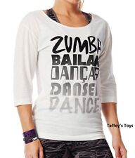 Zumba - Dance 3/4 Long Sleeve Tee - White - Multiple sizes avail ~ New~Free Ship