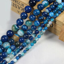 Lots 10-40X Natural Blue Striped Agate Round Gemstone Loose Spacer Beads Stone