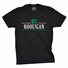 Mens Irish Clover Hooligan Funny St. Paddy's Day Drinking T shirt (Black)