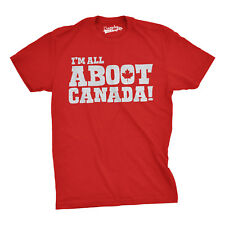 Mens All Aboot Canada Funny Canadian Pride T shirt (Red)