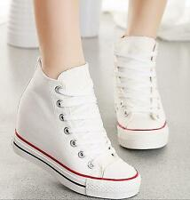 Ladies Round Toe Lace Up Sneakers Platform Wedge High Top Creepers Canvas Shoes
