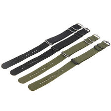 Amry Green Black Fabric Nylon Stainless Steel Pin Buckle Watch Band Strap 20/22m