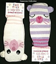 Infant/Younger Girls  2 x Pairs (one of each Colour) Tick Tock Animal Mittens