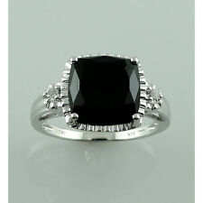 Black Spinel,White Topaz 925 Sterling Silver Right Hand 6.59 ctw Ring GSR869