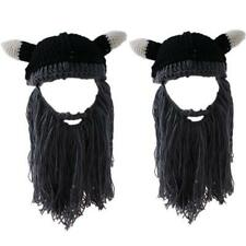Handmade Crochet Viking Hat Cap Men Kids Bearded Face Knitted Mask Horn Hat - LD