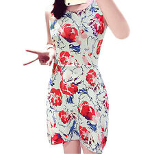 Woman Floral Prints Round Neck Sleeveless Cut Out Back Sheath Dress