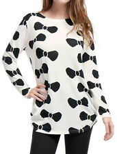 Allegra K Woman Printed Round Neck Long Sleeve Loose Tunic Knitted Shirt