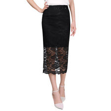 Women High Waist Stretchy Semi Sheer Detail Casual Lace Skirts