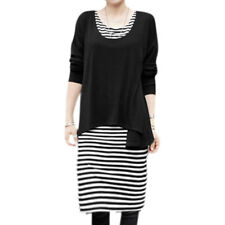 Women Long Dolman Sleeves High Low Hem Top w Stripes Shift Dress Sets