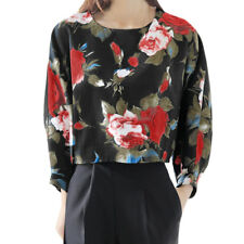 Women Round Neck Batwing Sleeves Loose Floral Crop Top