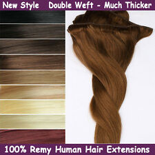 Double Weft THICK Clip in Remy Human Hair Extensions Black Brown Blonde Salon