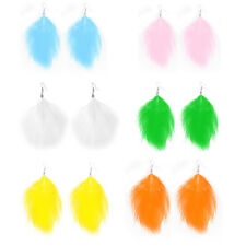 Ladies Long Faux Feather Pendant Dangle Fish Hook Earrings Ear Decor Pair