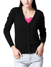 Lady Long Raglan Sleeve Single Breasted Casual Knit Cardigan