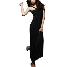 Ladies Sleeveless Ruched Top Elastic Back Full-Length Dress