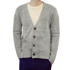 Men Deep V Neck Button Closure Two Pockets High Low Hem Sweater Cardigan