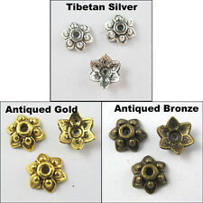 35 New Charms Tibetan Silver Gold Bronze Tone Flower End Bead Caps 8mm