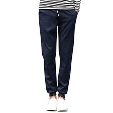 Men Drawstring Waist Plaids Double Slant Pockets Tapered Casual Pants