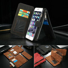 Genuine Leather Zipper Wallet Card Pocket Phone Case Cover For iPhone 6 7 8 Plus