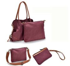Women Retro Casual Canvas Handbag Purses Shoulder Bag Tote Hobo Bag 3 pieces Set