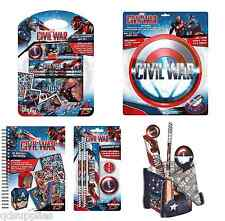 CAPTAIN AMERICA CIVIL WAR SHIELD PENCIL CASE, NOTE BOOK & DESK TIDY PENS PENCILS