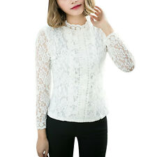 Women Scalloped Neckline Semi Sheer Long Sleeves Pullover Lace Tops
