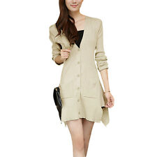 Woman Pure Color Deep V Neck Long Sleeve Casual Cardigan Sweater
