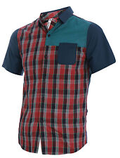 Man Button Closure Front Short Sleeve Plaids Casual Shirt