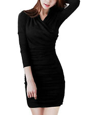 2015 Womens Long Sleeves Bodycon Slim Fit Evening Party Short Mini Dress