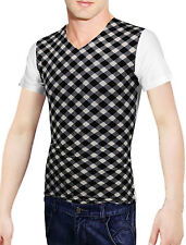 Men Stylish Plaids Prints Stretchy Short-sleeved Shirt