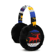 Ladies Knitted Deer Pattern Quilted Plush Earmuffs