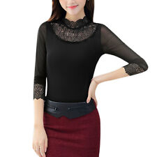 Women Scalloped Neck Long Sleeves Pullover Panel Design Slim Fit Mesh Top