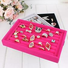 Jewelry Display Tray Box Velvet Earring Ring Showcase Holder Organizer Boxes Hot