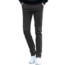 Men Mid Waist Zip Fly Tapered Slim Fit Long Pants