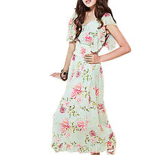 Smocked Waist Flower Print Summer Pullover Long Dress for Lady