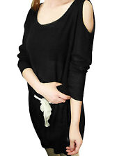 Ladies Scoop Neck Cutout Shoulder Casual Knitted Top Shirt