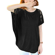 Ladies Pullover Lace Panel Round Neck Short Batwing Sleeves Loose Tops