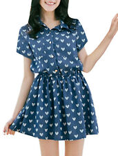 Lady Point Collar Hearts Pattern Roll Up Short Sleeve A-line Dress