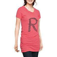 Ladies R Letter Front Short Sleeve Long Tunic Shirt Top