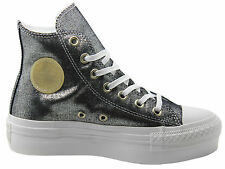 Converse ChuckTaylor All Star Platform Hi Top Womens Trainers Silver 541363C D87
