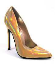 "Highest Heel Womens 5"" Plain Pump Gold Iridescent Patent PU Shoes"
