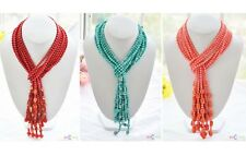 X0028 4pcs turquoise coral faceted round red agate necklace 50inch