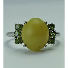 Solid Gold Green Opal,Chrome Diopside Right Hand Ring GSR723
