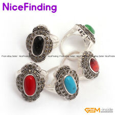Fashion Tibetan Silver Marcasite Gemstone Flower Rings Jewelry For Women Present