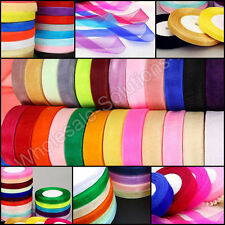 50m Woven Edge Organza Quality Ribbon Lengths Wedding Party Craft 50 Metre Reels