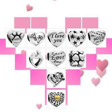LOVE HEART Charm Bead - 925 Sterling Silver - Valentine's Mother's Mum Gift Z9M3