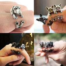 Vintage Cute Dog Ring Antique Animal Adjustable Wrap Statement Ring Jewelry Gift